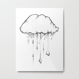 Happy Cloud Drawing, Cute Whimsical Illustration Metal Print