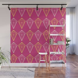 Pink Yarrow Geometric Diamonds Wall Mural
