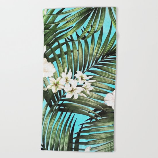 Palm leaves and flowers Beach Towel