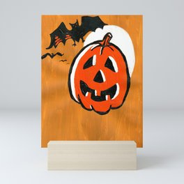 Vintage Jack o' Lantern and Bats Mini Art Print