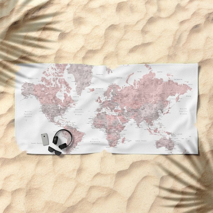 Dusty pink and grey detailed watercolor world map Beach Towel