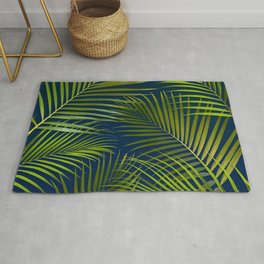 Palms on Royal Blue Rug
