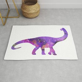Dinosaur Brachiosaurus Art Print Wild Animals Nursery Decor Kids Room Watercolor Pint Purple Art Rug