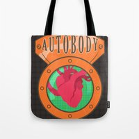bioshock infinite Tote Bags featuring Betterman's Autobody - Bioshock Infinite by Jacob Hansen