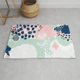 Ostara - minimal abstract painting trendy navy mint and pink pastels acrylic large minimalist Rug