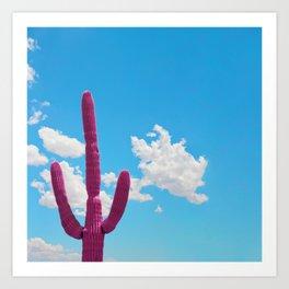 Pink Saguaro Against Blue Cloudy Sky Art Print