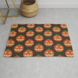 Knitted pumpkin pattern - dark Rug