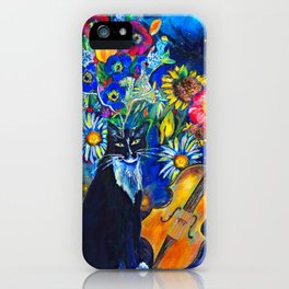Cat and String Instruments iPhone Case