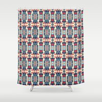 camp Shower Curtains featuring Camp by Daniac Design