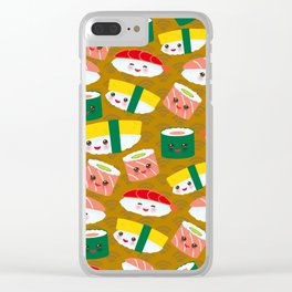pattern Kawaii funny sushi set with pink cheeks and big eyes, emoji on brown mustard background Clear iPhone Case