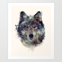 watercolour Art Prints featuring Wolf // Persevere  by Amy Hamilton