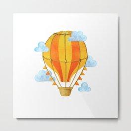 Hot air balloon watercolor illustration, Yellow orange hot air balloon in the sky Metal Print