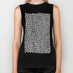 Hand Knit Grey Black Biker Tank