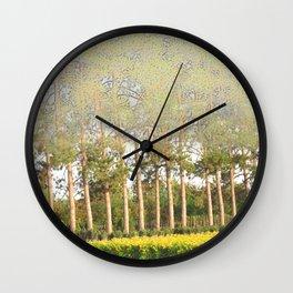 Daylily Stella d'Oro Hemerocallis Landscape Abstract Trees Wall Clock