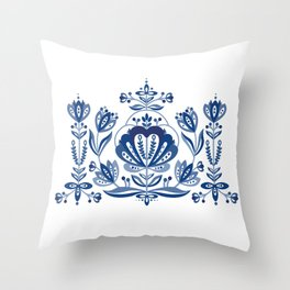 Nordic Blue Rose Throw Pillow