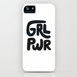 Grl Pwr black and white iPhone Case