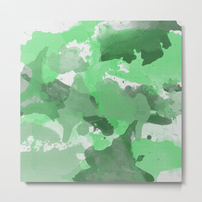 Green Splatters Watercolor - Digital Patchy Illustration - Artwork Metal Print