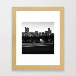 Denver Skyline Square Format - Black and White Framed Art Print