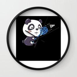 Panda Plays Badminton With Racket And Shuttlecock Wall Clock