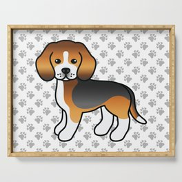 Cute Tricolor Beagle Dog Cartoon Illustration Serving Tray