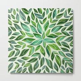 Spring Leaf Mandala Metal Print