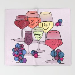 Wine and Grapes v2 Throw Blanket