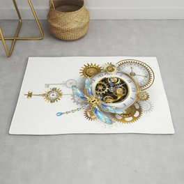 Steampunk Dragonfly with Clock Rug
