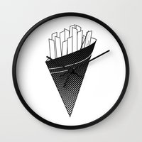 french fries Wall Clocks featuring French Fries frites by Keep It Simple