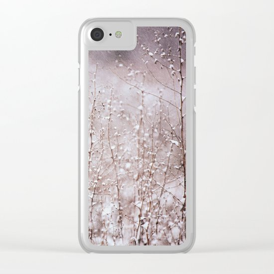 Snowy branches in the rain Clear iPhone Case