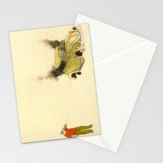 man listening a car burning Stationery Cards