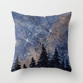 Pine trees and galaxies watercolor Throw Pillow