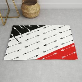 Red black , white pattern Boom 2 . Rug