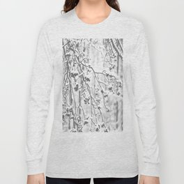 Cloudy Day In The Forest B&W Snowy Rowan Branches With Berries #decor #society6 #homedecor Long Sleeve T-shirt