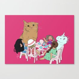 Teatime//because every cat deserves to be spoiled Canvas Print