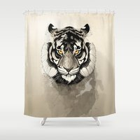 tiger Shower Curtains featuring Tiger by Rafapasta