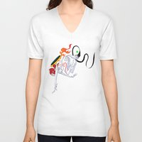 okami V-neck T-shirts featuring VIDEO GIRLS: Okami by Marques Cannon