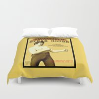 parks Duvet Covers featuring Ron Swanson  |  Steak House Parody |  Parks and Recreation by Silvio Ledbetter