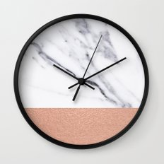 Marble Rose Gold Luxury iPhone Case and Throw Pillow Design Wall Clock