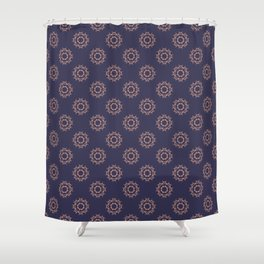 Gold floral pattern on navy ink Shower Curtain