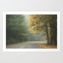 Foggy autumn road Art Print