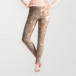 vintage halloween rust ivory Leggings