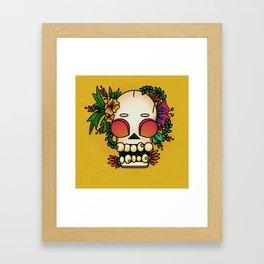 skull and flowers. Día de los Muertos Framed Art Print