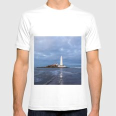 Dusk at St Mary's Lighthouse II SMALL White Mens Fitted Tee
