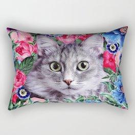 Cat In Flowers. Summer Rectangular Pillow