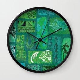 Vintage Hawaian Tapa Print Wall Clock