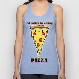 I'd rather be eating pizza Unisex Tank Top