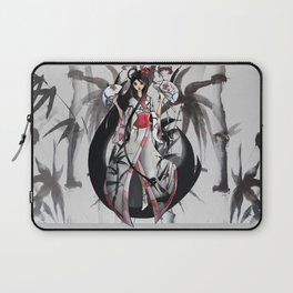 Geisha in White with Bamboo and Poinsettia Laptop Sleeve