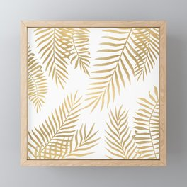 Gold palm leaves Framed Mini Art Print