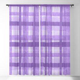 Tissue Paper Plaid - Purple Sheer Curtain