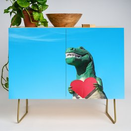 Tiny Arms, Big Heart: Tyrannosaurus Rex with Red Heart Credenza